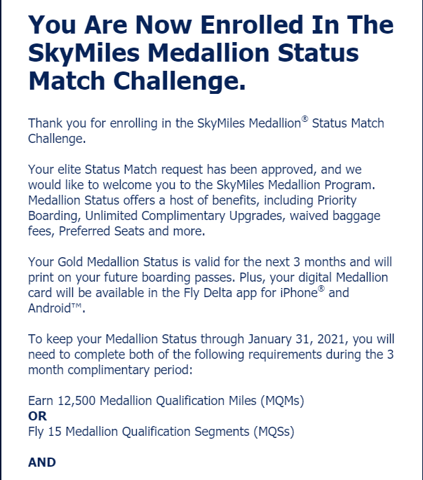 Delta status match approved